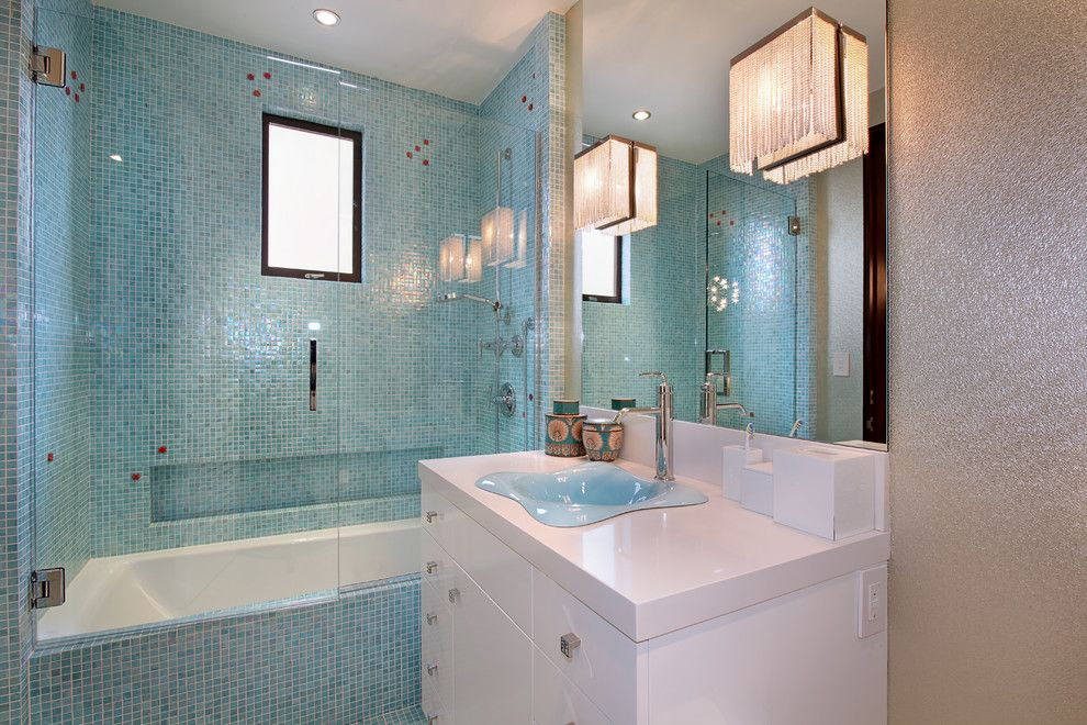 Bisazza for a Contemporary Bathroom with a Blue Mosaic Tile and Strand Beach by Jeri Koegel Photography