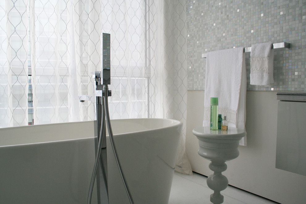 Bisazza for a Contemporary Bathroom with a End Table and Crystal's Penthouse by Studio Noo Design
