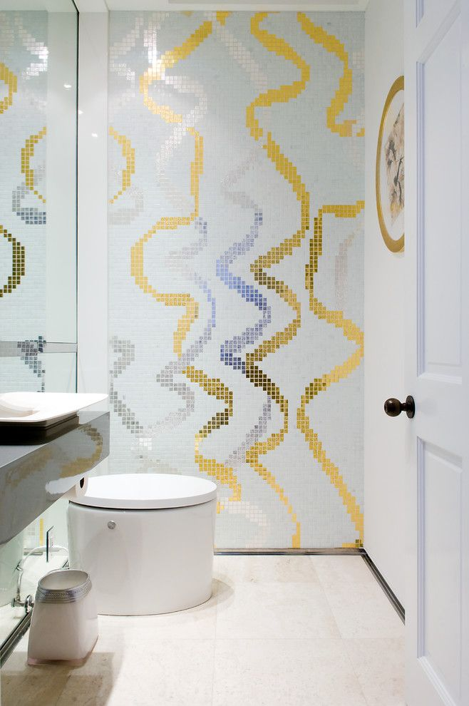 Bisazza for a Contemporary Powder Room with a Metallic and Critz Residence by Pepe Calderin Design  Modern Interior Design