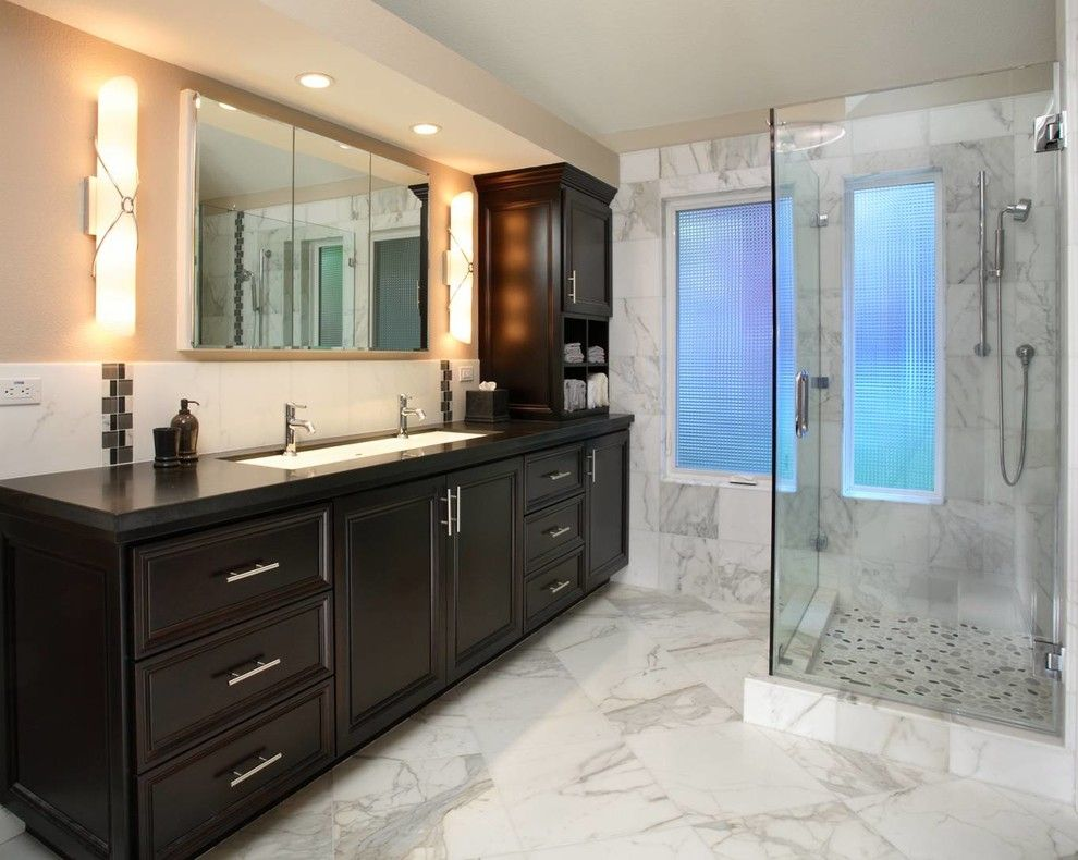 Blackhawk Hardware for a Contemporary Bathroom with a Hardware and Blackhawk Remodel by Culbertson Durst Interiors