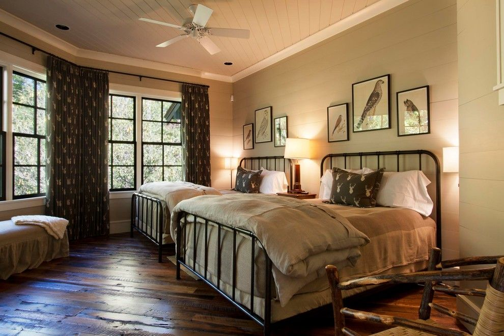 Bleeker Beige for a Rustic Bedroom with a Wood Ceiling and Reclaimed Natural Wonder by Morgan Keefe Builders, Inc.