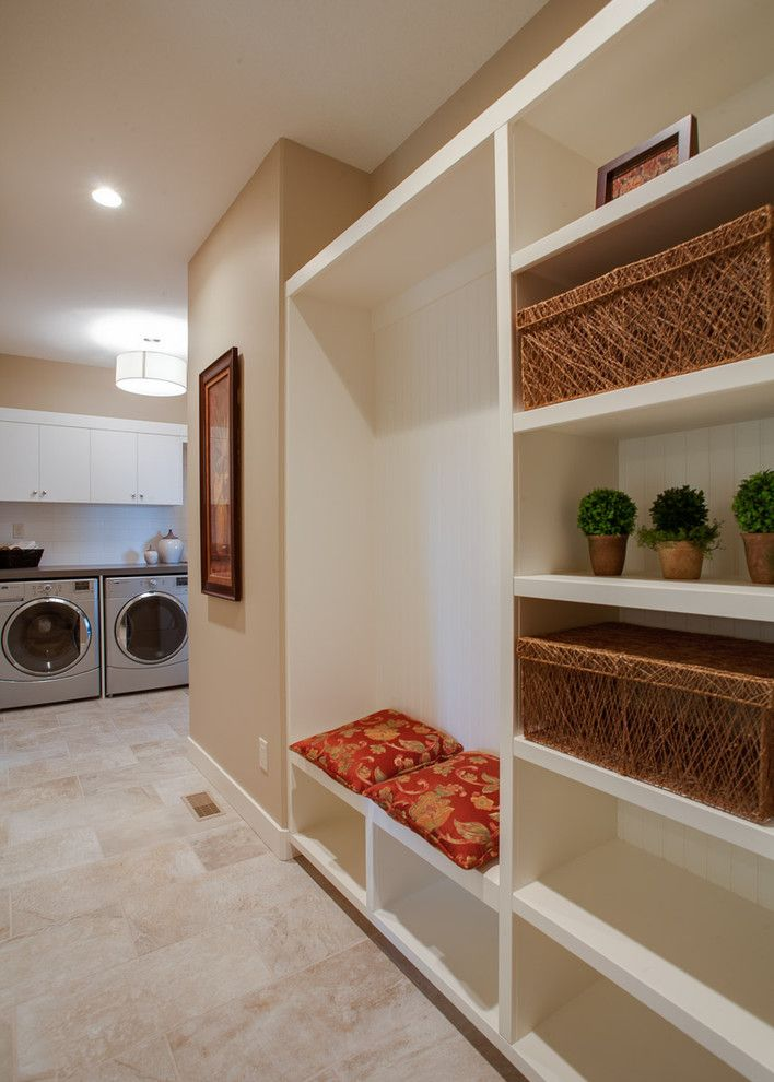 Bleeker Beige for a Traditional Laundry Room with a Pendant Lighting and Wilden Skylands Showhome by Norelco Cabinets Ltd