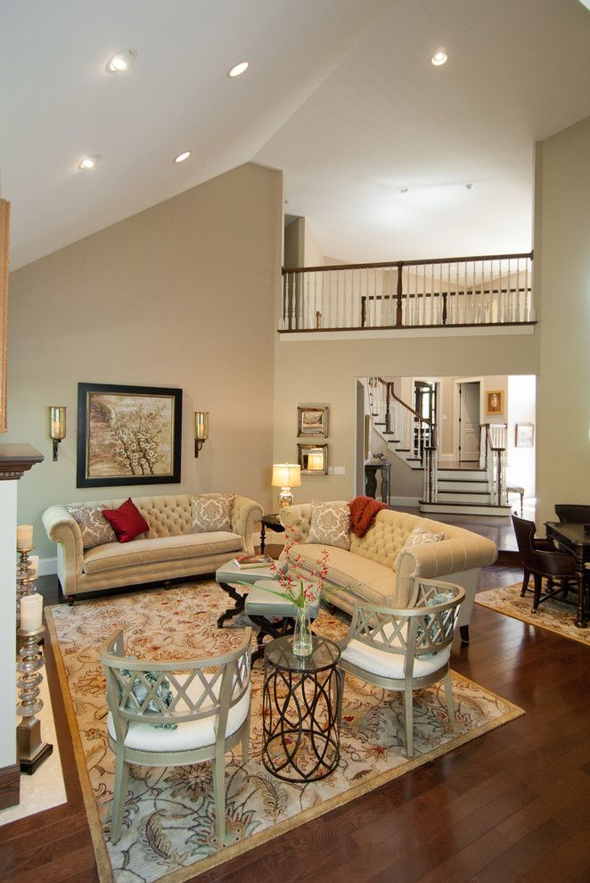 Bleeker Beige for a Traditional Living Room with a Side Table and Traditional Living Room by Dw interiordesign.com