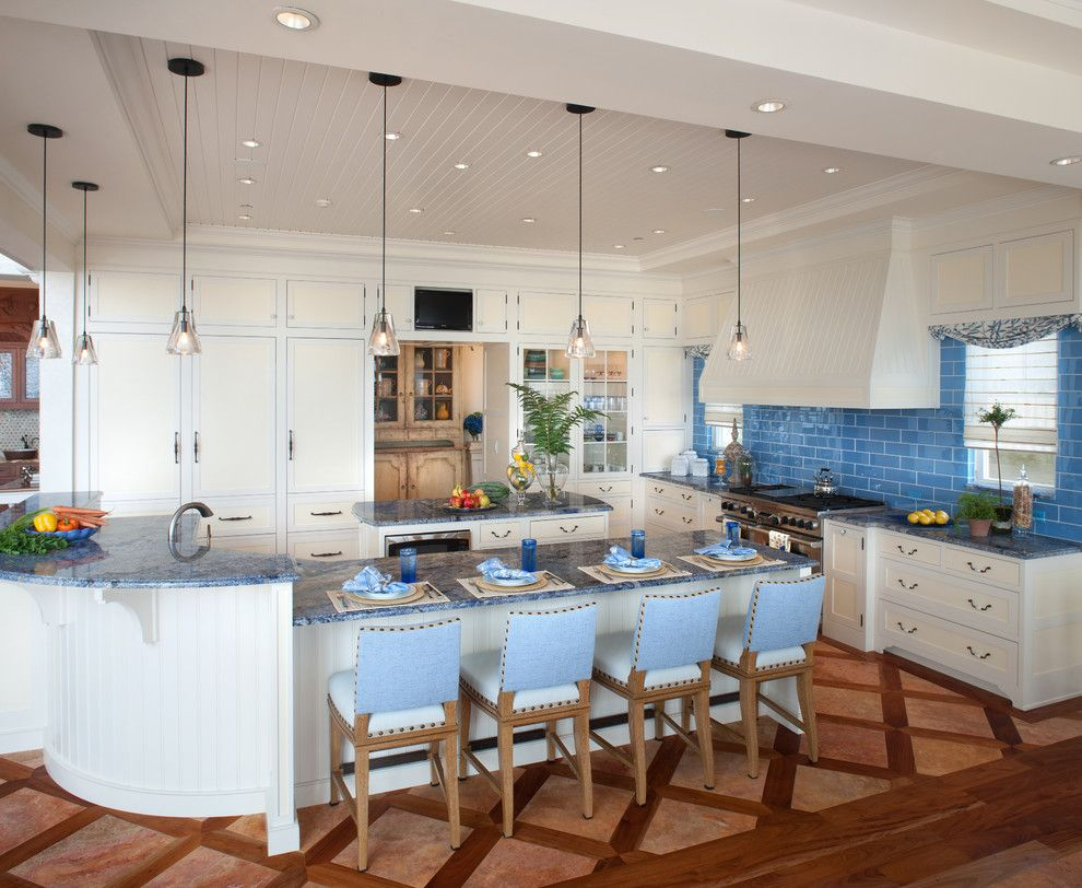 Blue Bahia Granite for a Beach Style Kitchen with a Topiary and Waterfront Retreat by Bruce Palmer Coastal Design