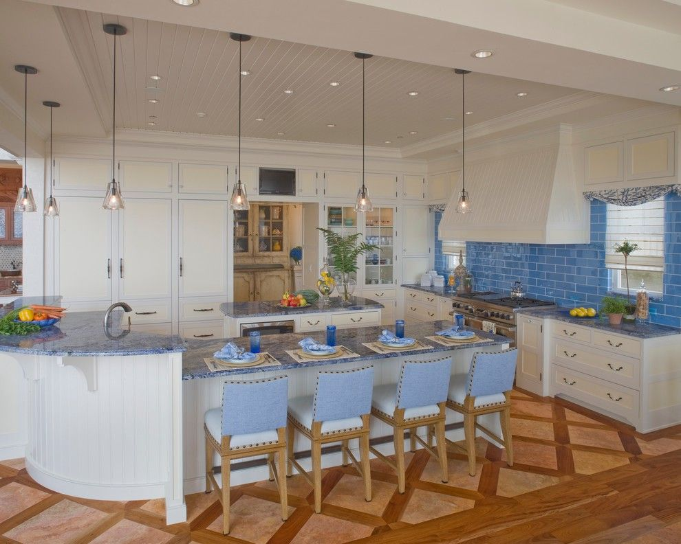 Blue Bahia Granite for a Beach Style Kitchen with a White Kitchen and Waterfront Retreat by Bruce Palmer Interior Design