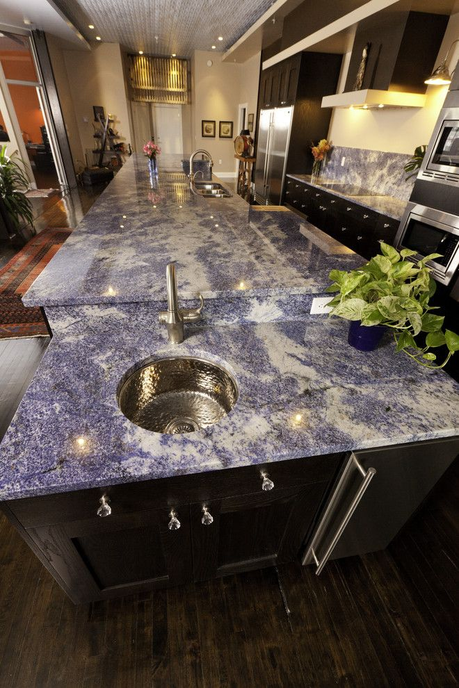 Blue Bahia Granite for a Contemporary Kitchen with a Black Kitchen Cabinets and Contemporary Kitchen Design by Reico Kitchen & Bath