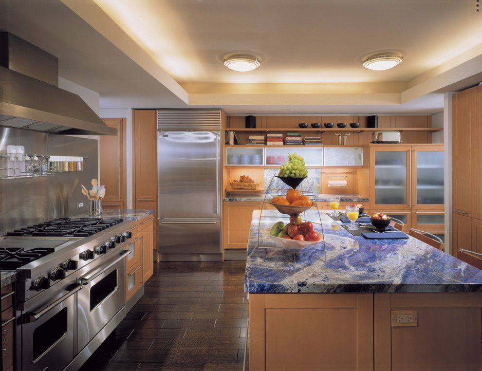 Blue Bahia Granite for a Contemporary Kitchen with a Cove Lighting and Highland Park by Powell/kleinschmidt, Inc.