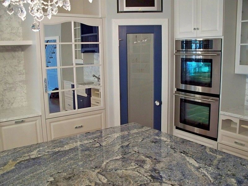 Blue Bahia Granite for a Traditional Kitchen with a Paneled Cabinet Ends and Kitchen by Beaglesdoitbetter