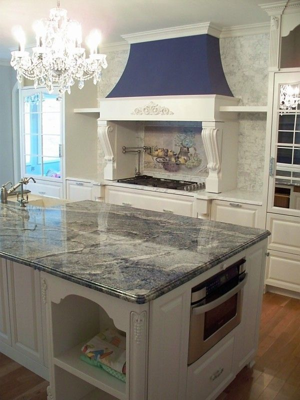 Blue Bahia Granite for a Traditional Kitchen with a Utensil Drawers and Kitchen by Beaglesdoitbetter
