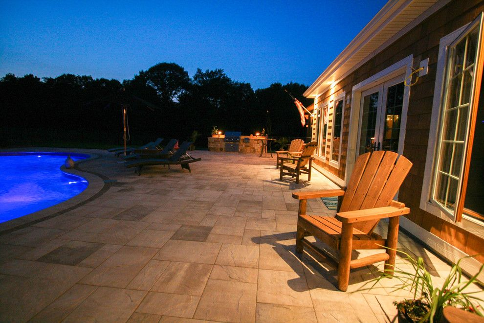 Blue Hawaiian Pools for a Rustic Spaces with a Patios Troy and Pool Project Clifton Park, NY by Pearl Landscaping & Patio Company