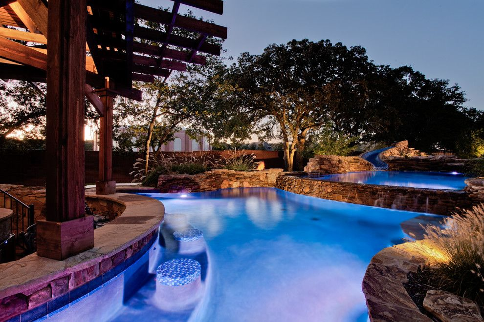 Blue Hawaiian Pools for a Tropical Pool with a Wood Beam and Open Water   Southlake, Tx by One Specialty Landscape Design, Pools & Hardscape