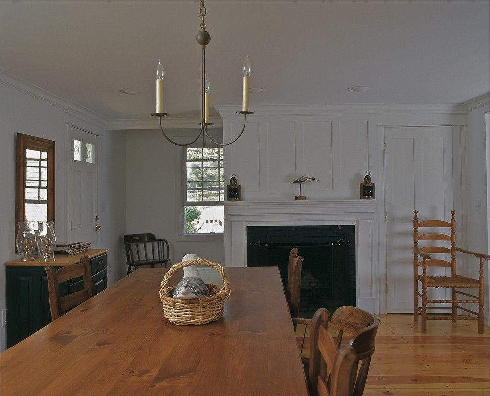 Board and Batten for a Traditional Dining Room with a Antiques and Crow's Pond House Dining Room by Joseph B Lanza Design + Building