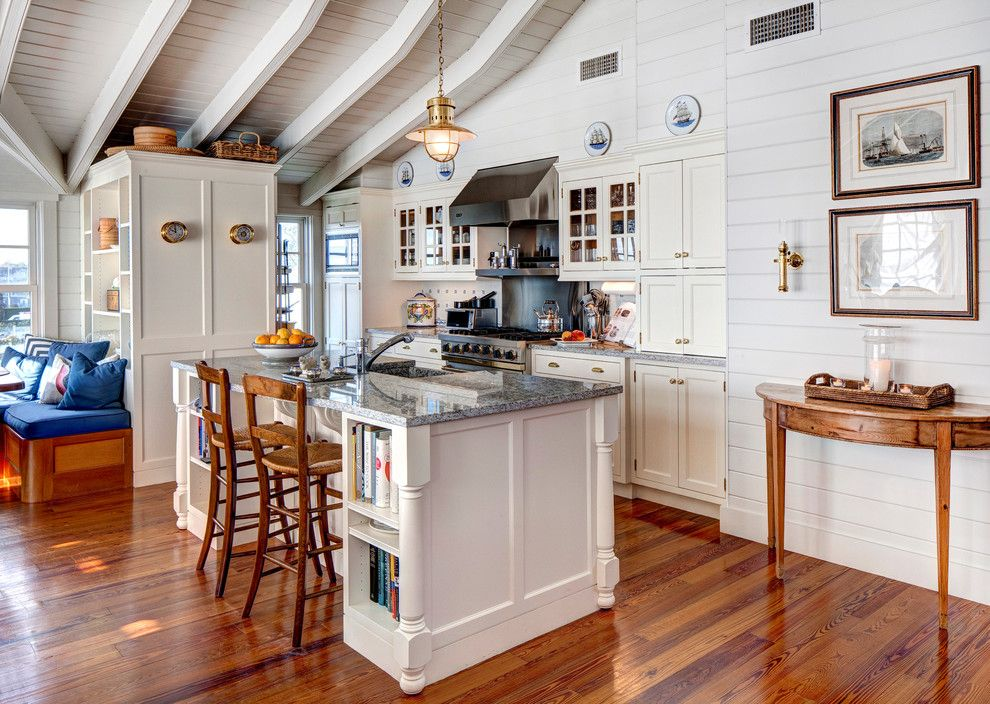 Bob Wallace Appliance for a Beach Style Kitchen with a Blue and White Color Scheme and Edgartown Boat House by Bob Gothard Architectural Photographer