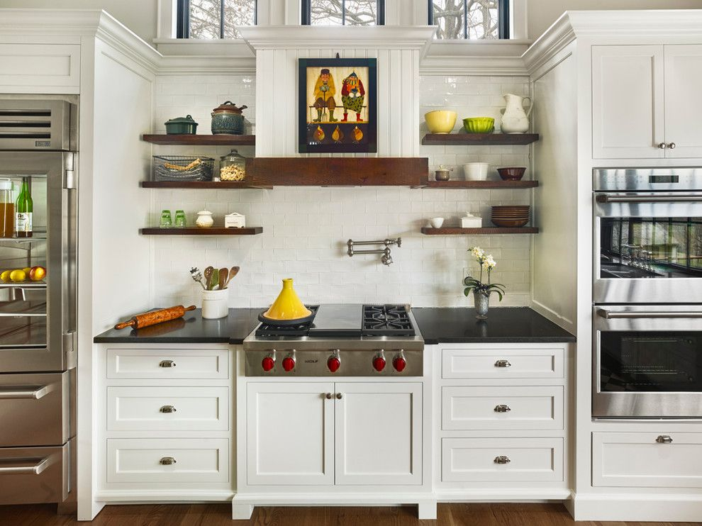 Bob Wallace Appliance for a Farmhouse Kitchen with a Wooden Shelves and Sycamore Farms by Sullivan Building & Design Group