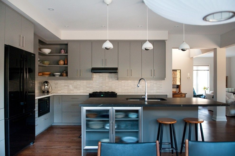 Bob Wallace Appliance for a Modern Kitchen with a Soapstone and Heather & Bob by Cabinetworks Plus