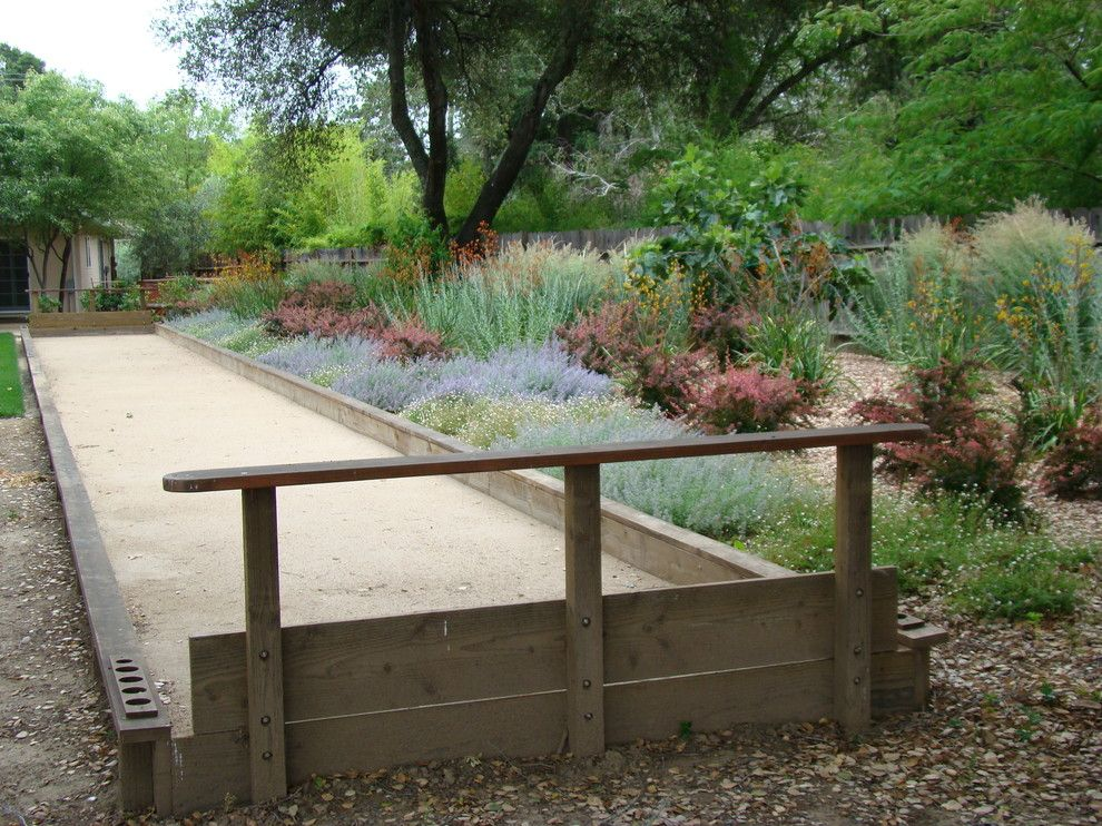 Bocce Ball Court for a Mediterranean Landscape with a Bocce Ball Courts and Bocce Ball Courts by Autumn Skies Landscapes
