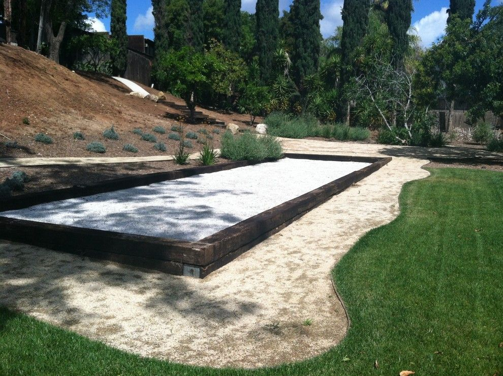 Bocce Ball Court for a Modern Landscape with a Desert Gold Dg and San Diego Bocce Ball Court by Ecominded Solutions by Southwest Boulder & Stone