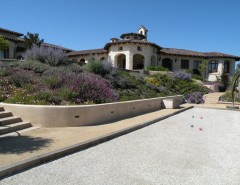Bocce Court for a Mediterranean Landscape with a Tile Roof and Carmel Valley 01 (Design by Ron Herman) by Frank & Grossman Landscape Contractors, Inc.