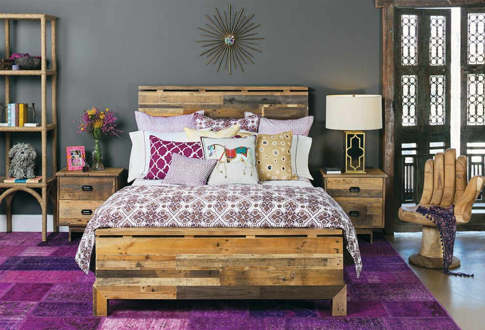 Bohemian Bedroom for a Contemporary Bedroom with a Hand Chair and Moroccan Modern   Tioga Bed by High Fashion Home