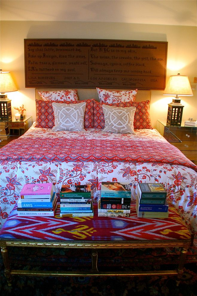 Bohemian Bedroom for a Eclectic Bedroom with a Wall Sign and Bedroom by Lisa Borgnes Giramonti
