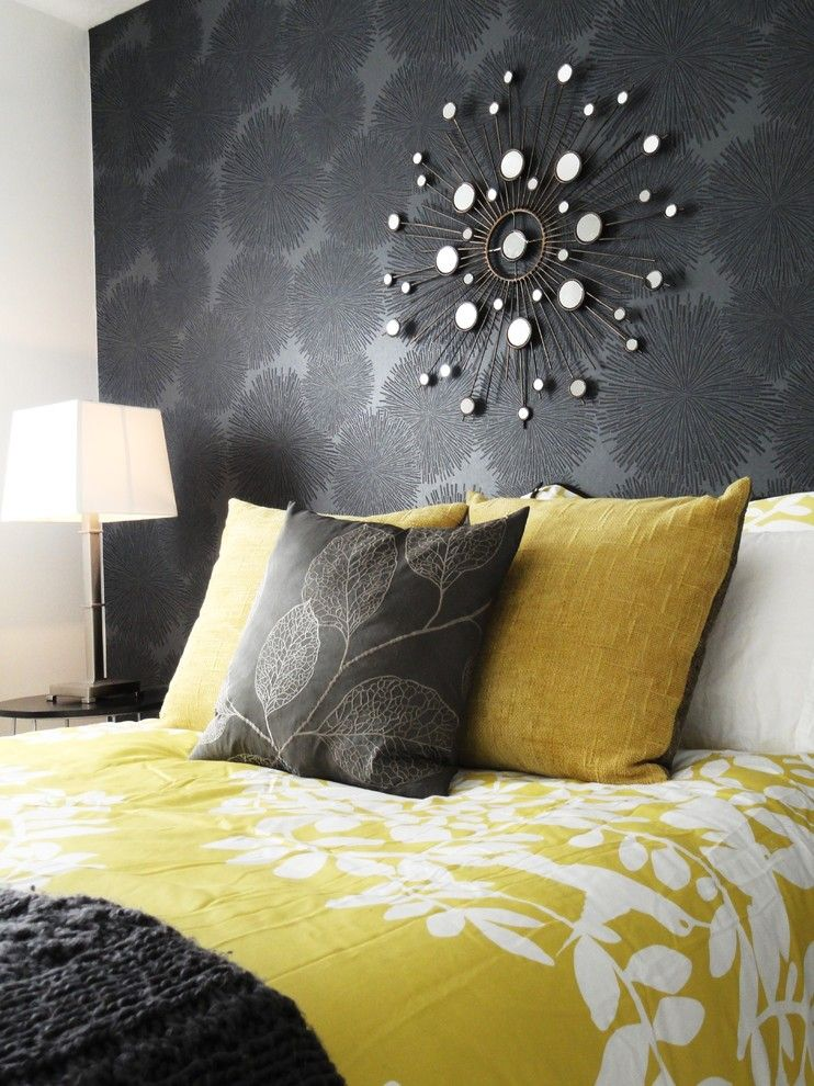 Boise Hunter Homes for a Contemporary Bedroom with a Black Wall and Modern Guest Room by Judith Balis Interiors
