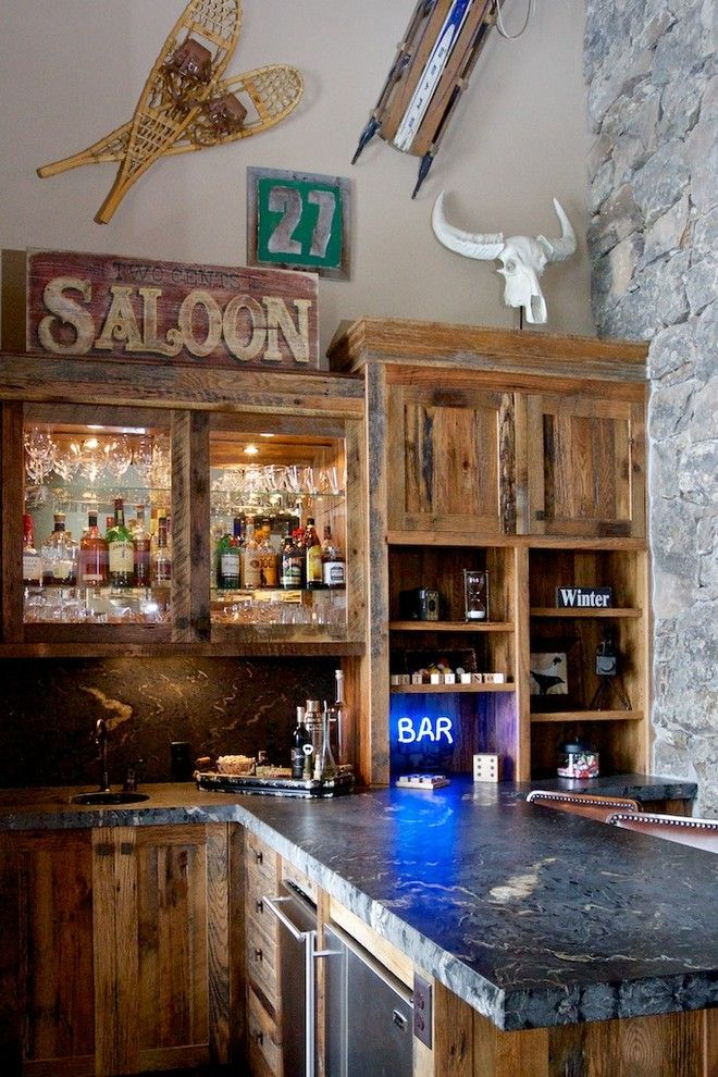 Boise Hunter Homes for a Rustic Home Bar with a Stainless Steel Appliances and 407 Blackhawk Lake Drive   Scozzafave by Pinetop Custom Homes