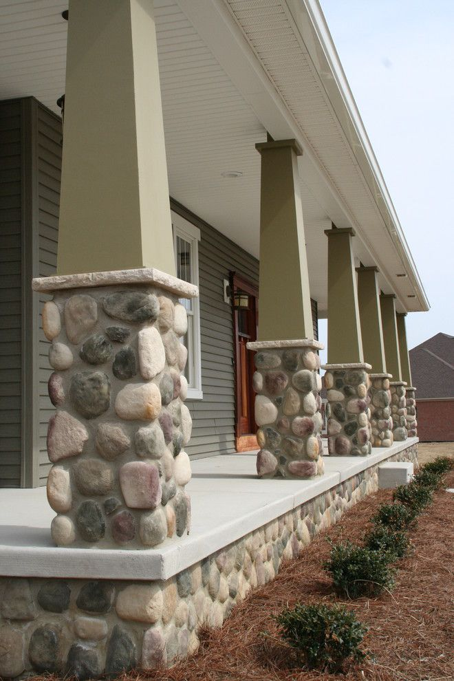 Boral Cultured Stone for a Contemporary Porch with a Elephant Leg Columns and Provia by Provia