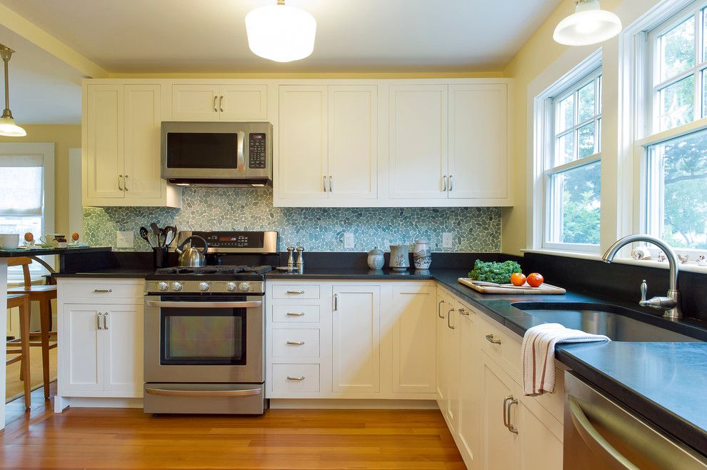Boston Granite Exchange For A Beach Style Kitchen With A Honed Absolute  Black Granite Countertop And