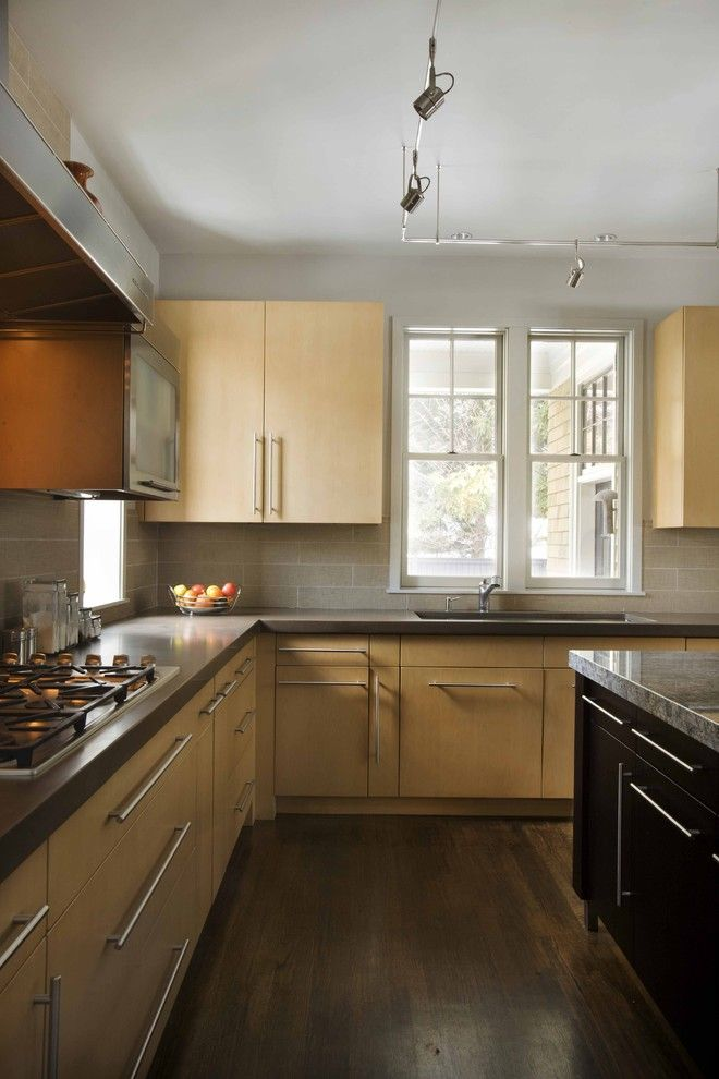 Boston Granite Exchange for a Contemporary Kitchen with a Wood Flooring and Prince Street by Venegas and Company
