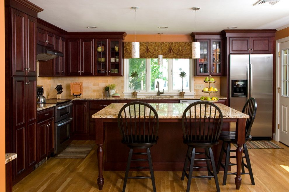 Boston Granite Exchange for a Traditional Kitchen with a Recessed Lighting and Traditional Cherry Kitchen by Topnotch Design Studio