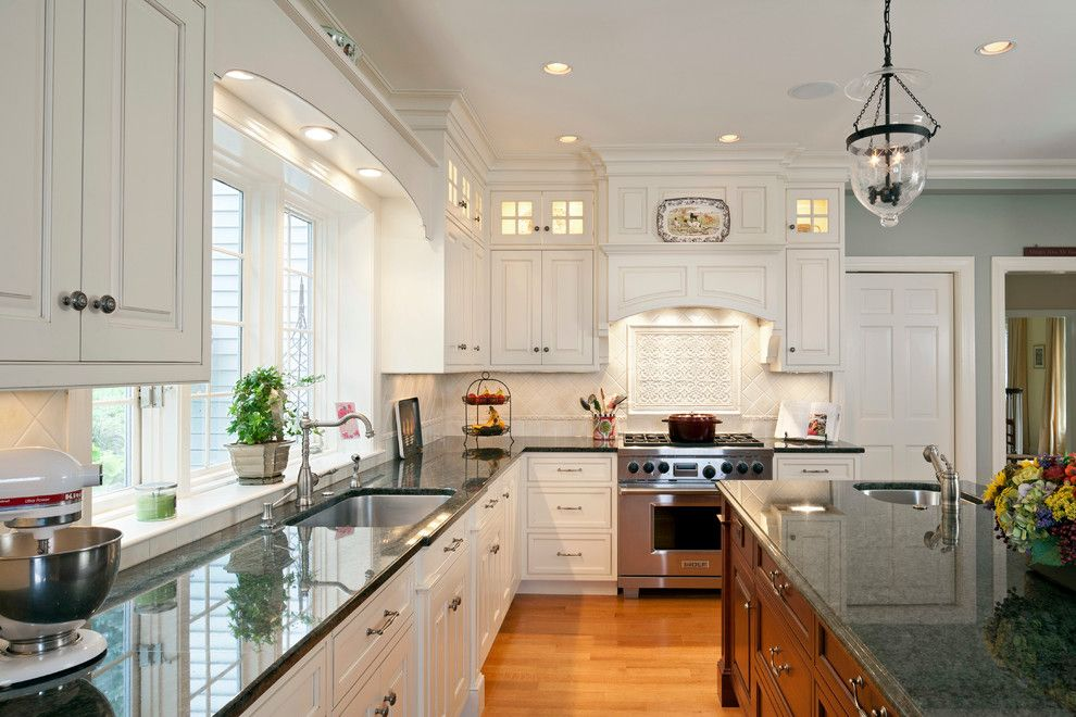 Boston Granite Exchange for a Traditional Kitchen with a Recessed Lights and Wellesley 2 by Architectural Kitchens Inc.