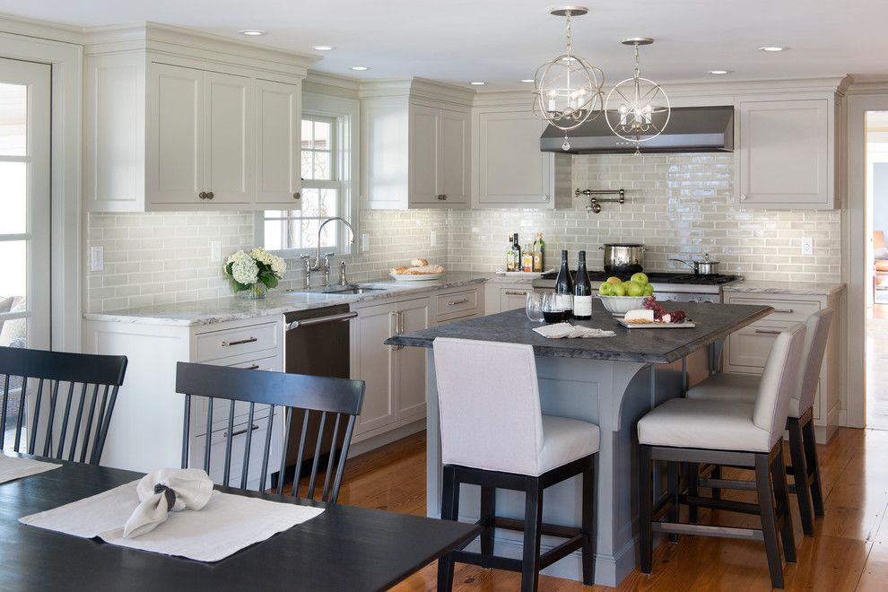 Boston Granite Exchange for a Traditional Kitchen with a Swivel Stools and Sudbury by Pinney Designs