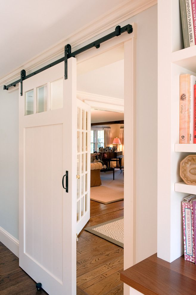 Boston Points of Interest for a Traditional Kitchen with a Barn Door and Kitchen by Su Casa Designs