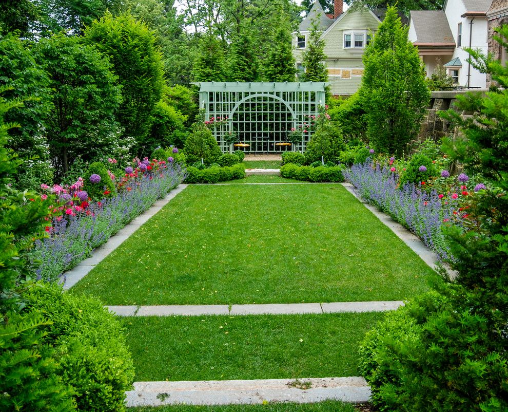Boston Points of Interest for a Traditional Landscape with a Viburnum and Brookline Brownstone by a Blade of Grass