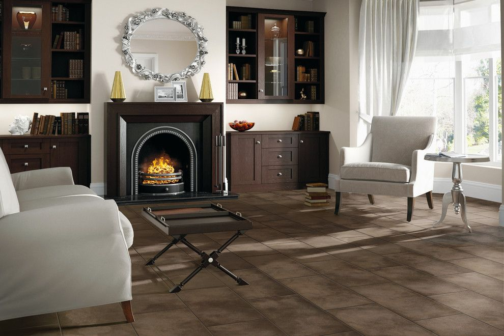 Bova Furniture for a Contemporary Living Room with a Dark Flooring and Living Room by Carpet One Floor & Home