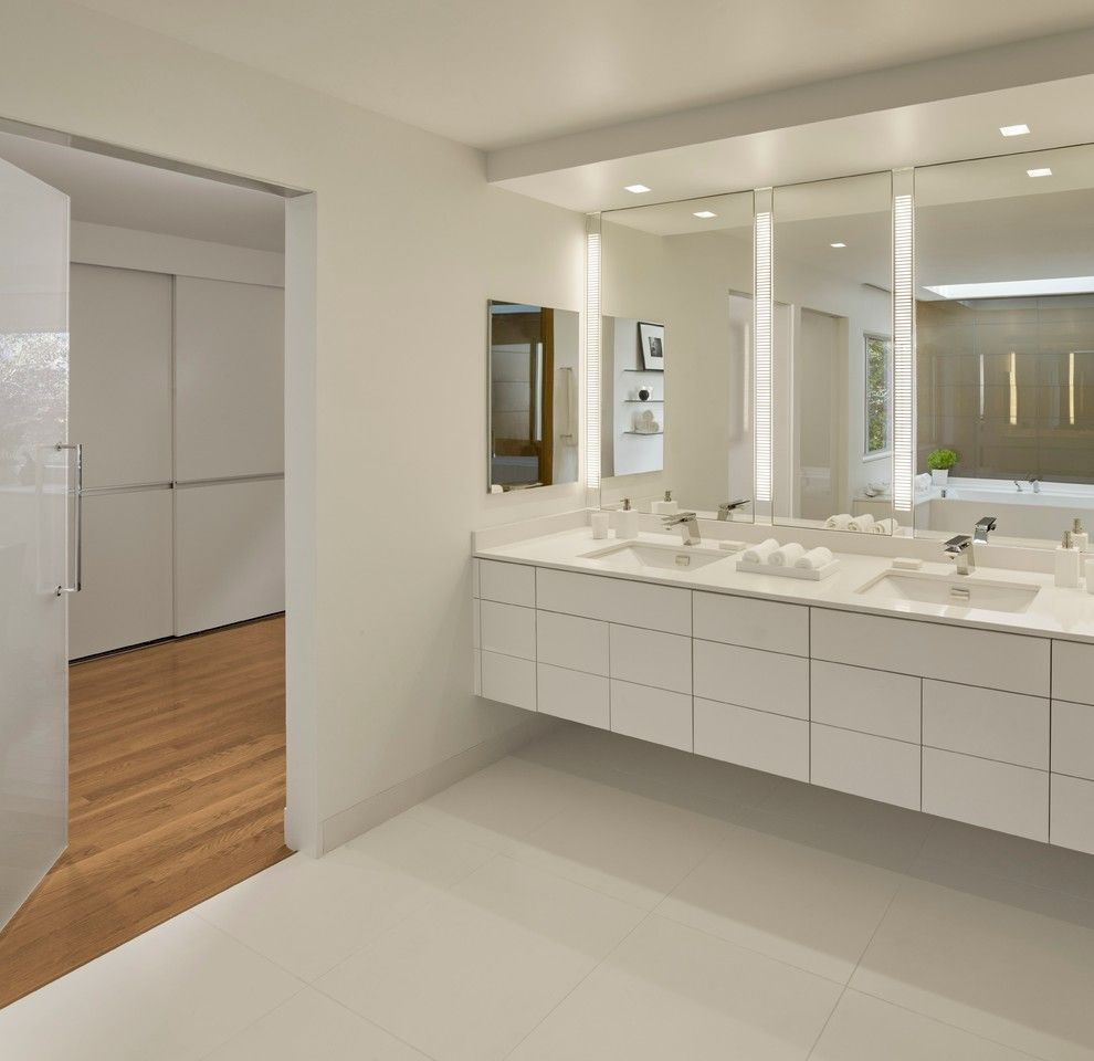 Boyd Lighting for a Contemporary Bathroom with a Contemporary and Bathrooms by Michael Merrill Design Studio, Inc.