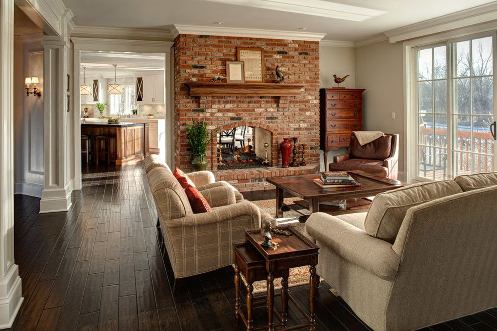 Brick Fireplace Makeover for a Traditional Family Room with a Glass Doors and Robinson by Jane Kelly, Kitchen and Bath Designer
