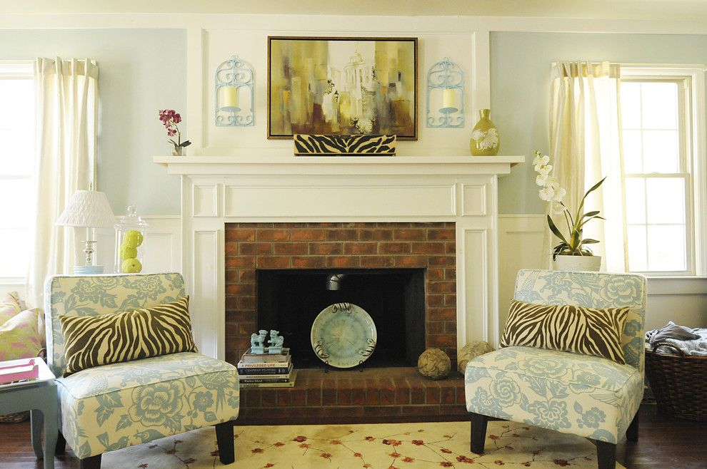 Brick Fireplace Makeover for a Traditional Living Room with a Sconce and Contemporary Beach Living Room by Julia Ryan