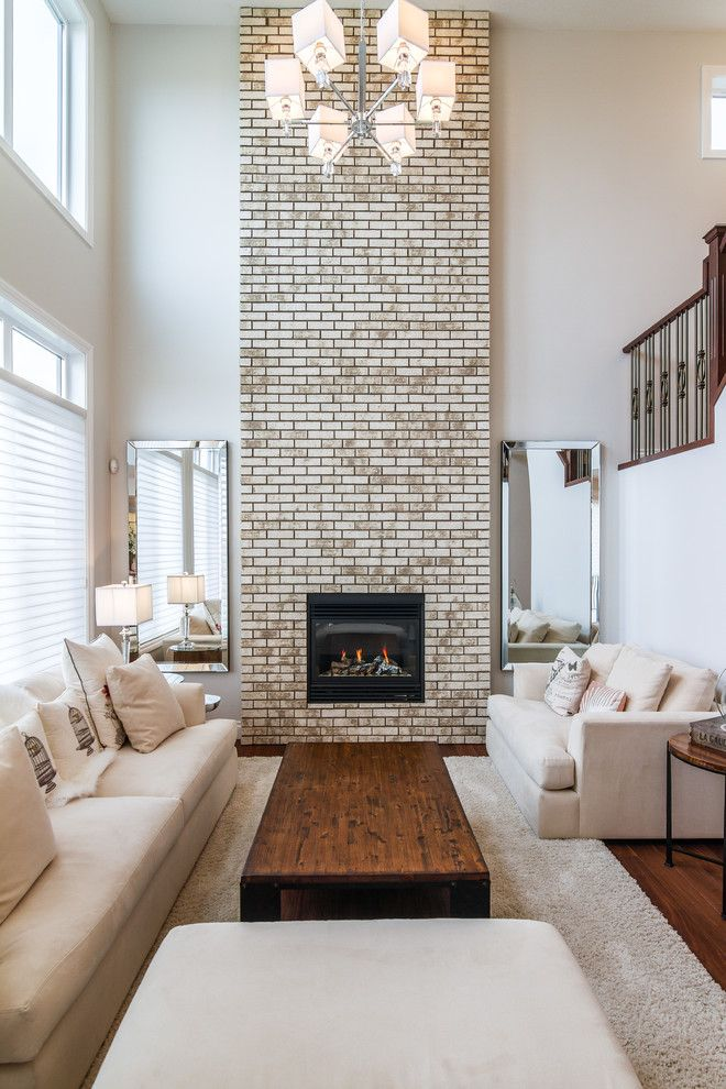 Brick Fireplace Makeover for a Traditional Living Room with a Two Mirrors and Enfield   Westmere by Lifestyle Homes