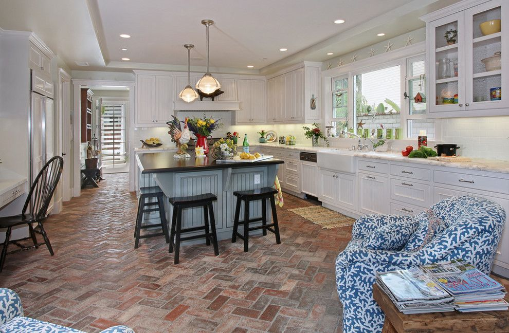 Brick Paver Patterns for a Beach Style Kitchen with a White Kitchen Sink and San Clemente Remodel by Darci Goodman Design