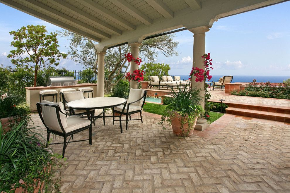 Brick Paver Patterns for a Beach Style Patio with a Bougainvillea and Ams Landscape Design Studios, Inc. by Ams Landscape Design Studios, Inc.