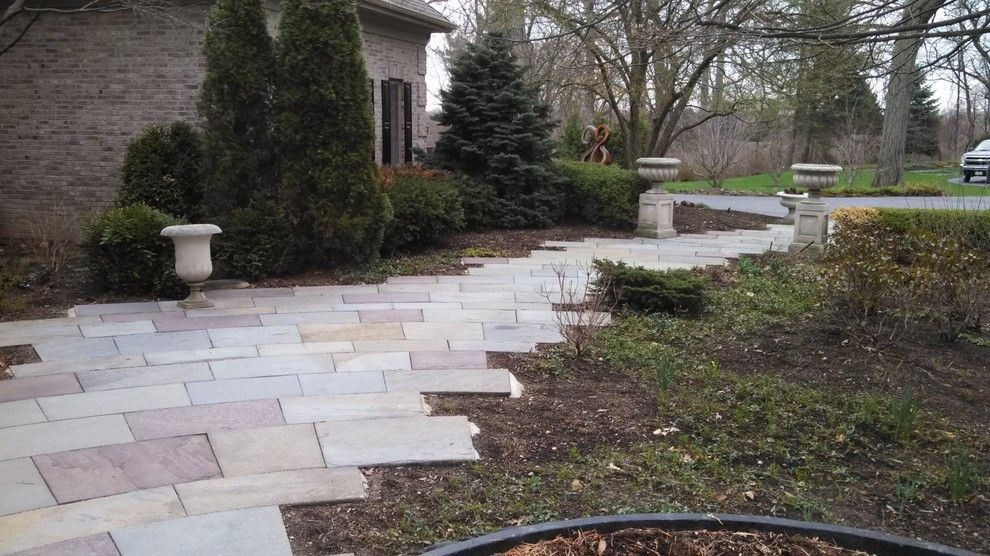 Brickman Landscape for a  Landscape with a  and Elegant Radial Bluestone Walk by Hirsch Brick and Stone