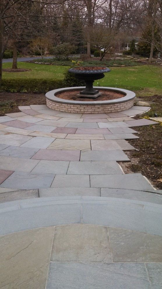 Brickman Landscape for a Traditional Landscape with a Chicago and Elegant Radial Bluestone Walk by Hirsch Brick and Stone
