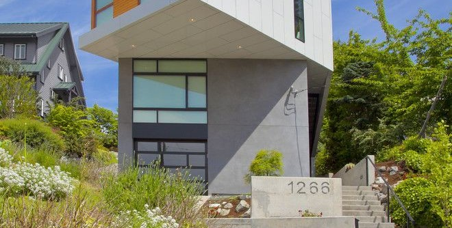 Brickman Landscaping for a Contemporary Exterior with a Cantilever and Modern Phinney House by Todd Brickman Designs