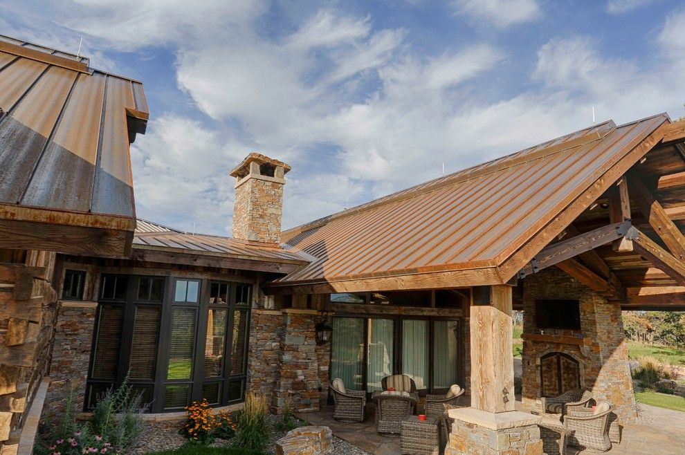 Bridger Steel for a Rustic Exterior with a Metal Roof and Rusted Steel by Bridger Steel, Inc