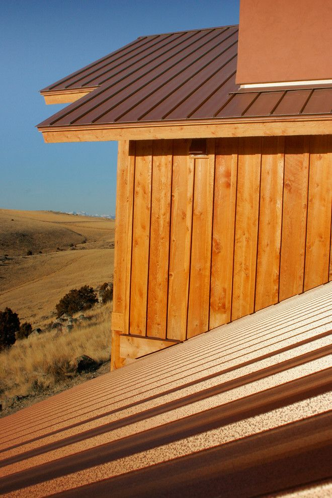 Bridger Steel for a Rustic Exterior with a Mountain Home and Manhattan Mountain Home by Bridger Steel, Inc
