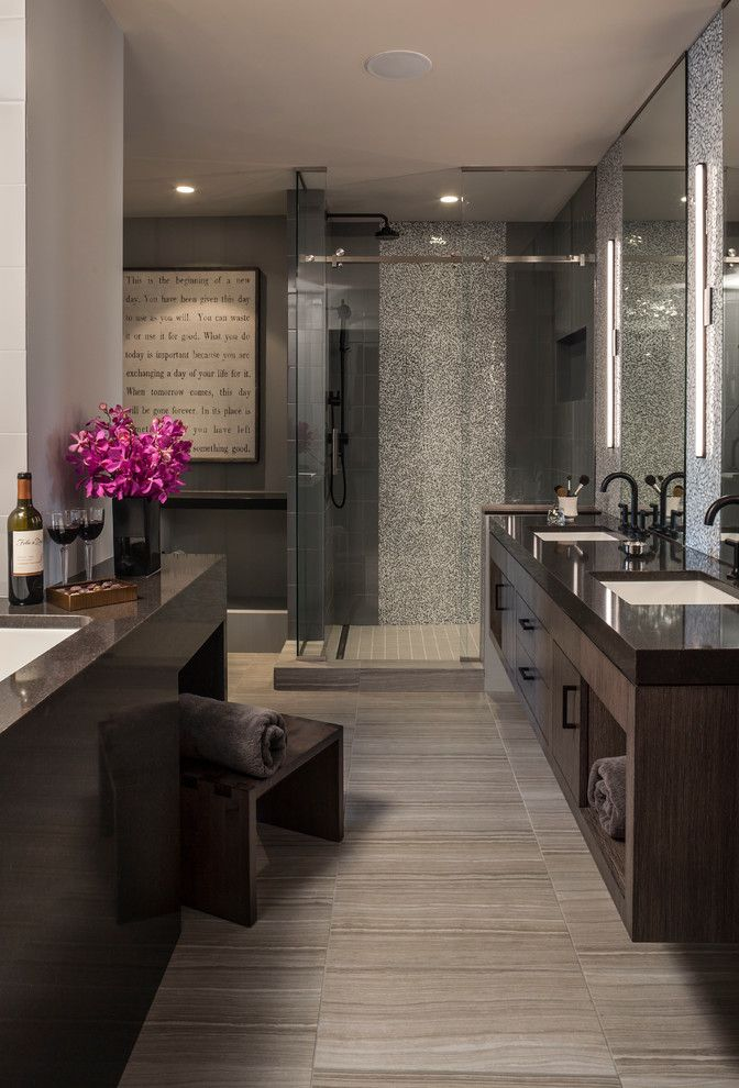 Brizo for a Contemporary Spaces with a Spa Bathroom and Luxe Loft Bath by Lilu Interiors