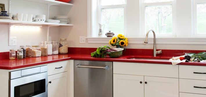 Brizo for a Farmhouse Kitchen with a Hex Tile and Open Shelving by Kitchen & Bath Design + Construction
