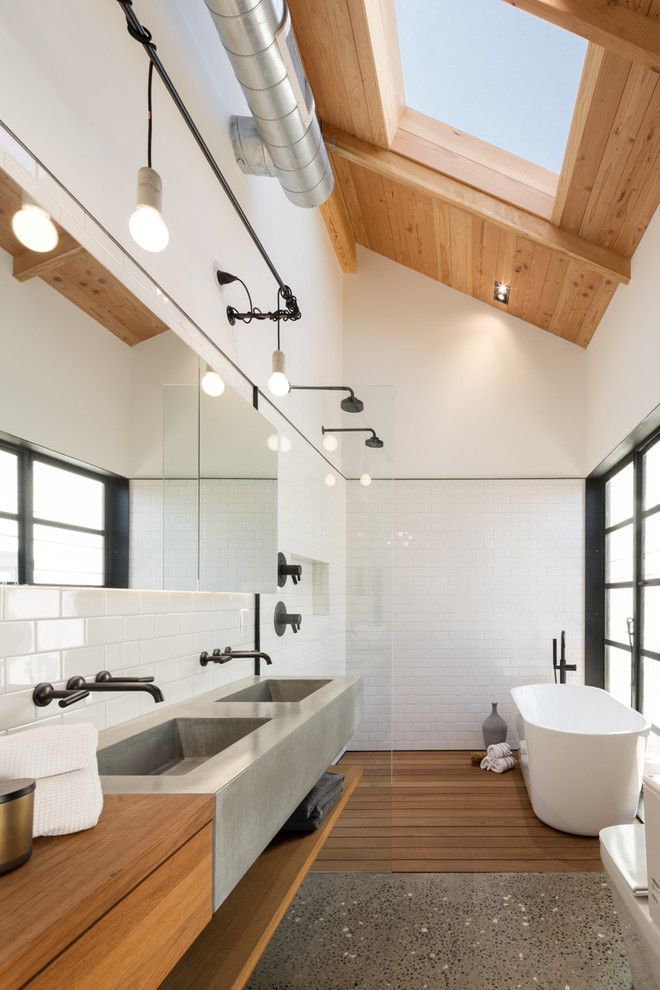 Brizo for a Industrial Bathroom with a Subway Tiles and Az Bungalow Modernized by Jc11221