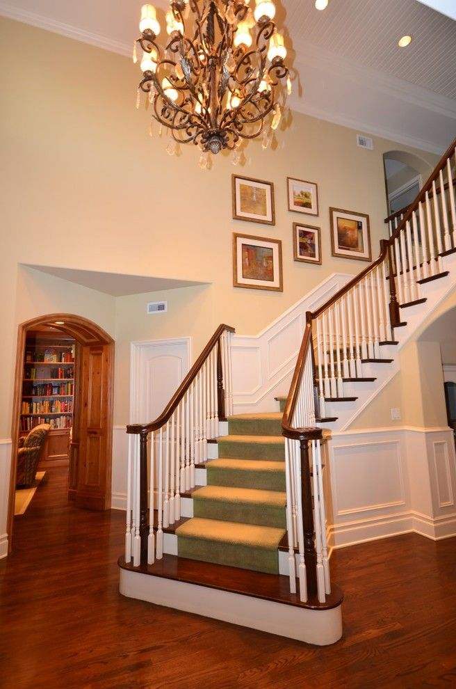 Broadway Carpets for a Traditional Entry with a Chandeliers and Broadway by Cynthia Brannon Interiors